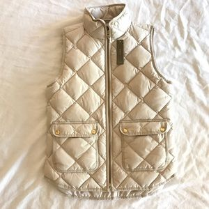 J. Crew Ivory Excursion Quilted Vest XS